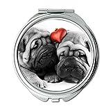 Yanteng Spiegel, Compact Mirror, englische Bulldogge, Taschenspiegel, 1 X 2X Vergrößerung