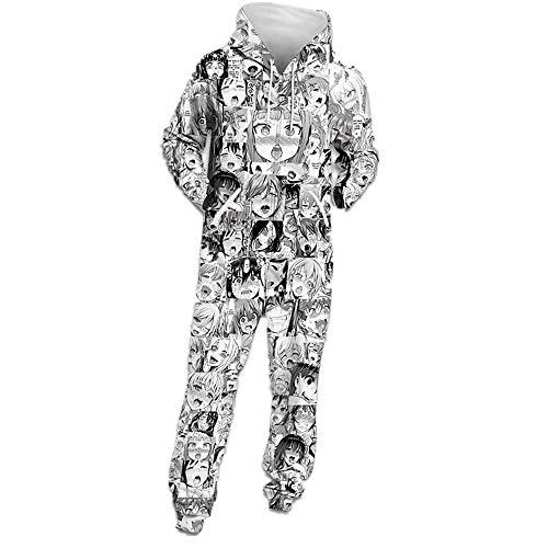 Herren Onepiece Jumpsuit Jogger, Kapuzenpullover Strampelanzug 3D Printed Sweatshirt Männer Strampler Weich Nachtwäsche Fitness Bekleidung Overall ()