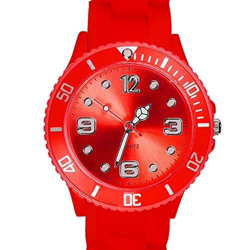 Taffstyle Farbige Sportuhr Armbanduhr Silikon Sport Watch Damen Herren Kinder Analog Quarz Uhr 43mm Rot