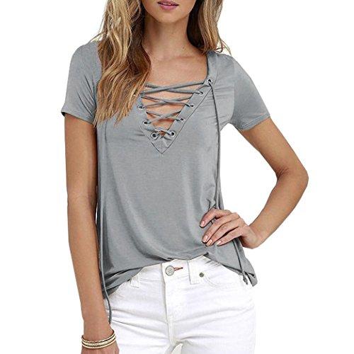 Yeesea Damen Kurzarm Lässiger V-Ausschnitt Tops Blusen Sommer Oberteil T-Shirt  Grau