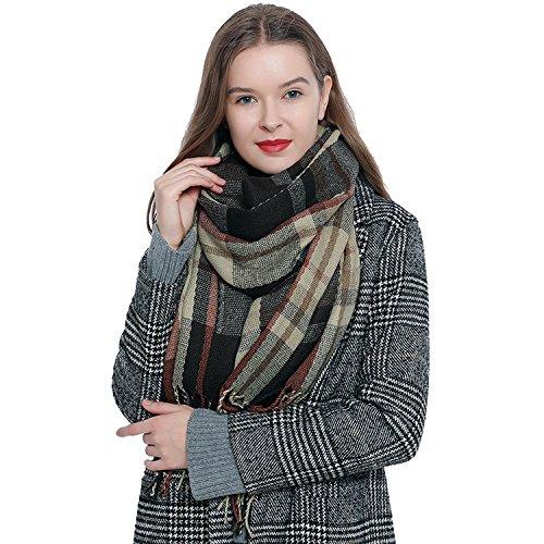 DonDon Weicher und warmer Damen Oversize Winterschal kariert 185 x 65 cm dunkelbraun beige hellbraun