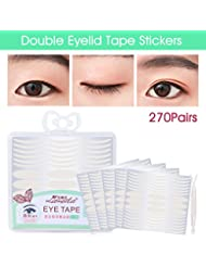 Lameila Ultra Invisible Fiber Double Eyelid Tape Stickers - Instant Eye Lift Without Surgery - Perfect for Hooded, Droopy, Uneven, or Mono-eyelids (270 Pair, Wide + Slim)