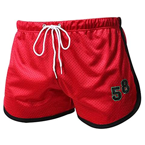 Running Shorts, ADiPROD Men Sexy Sport Bodybuilding Fitness GYM Summer Casual Short Pants (Red, X-Large)