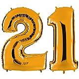 PartyMarty Ballon Zahl 21 in Gold - XXL Riesenzahl 100cm - zum 21. Geburtstag - Party Geschenk Dekoration Folienballon Luftballon Happy Birthday GmbH®