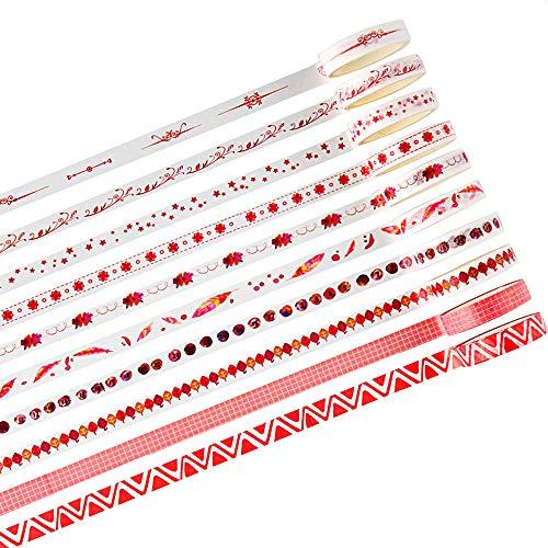 Washi Tape set 10 Stück 8mm Blätter Folie Grid Floral Nette Papier Masking Tape Dekobänder Aufkleber Papier für Scrapbooking Dekoratives Aufkleber DIY Handwerk Party Supplies ()