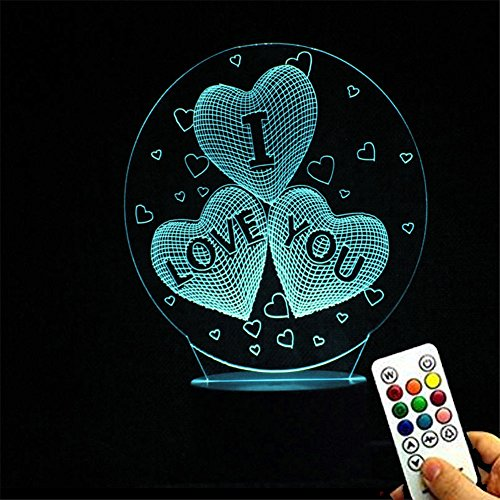 Deerbird® 3 Herzform I Love You 3D optische Täuschung LED-Berührung USB-Fernbedienung Schreibtischlampe Nachtlicht mit weißer Basis und 7 bunte Steigung für Valentinstag Muttertag Geschenk