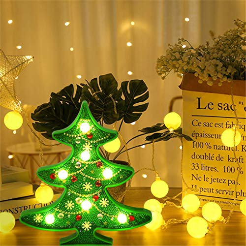 LED Lichterkette 5D Dekorative Lampe Der Malereidiamant Malereiform DIY Motiv-Lampen Nachtlicht Weihnachtsbaum Schneemann Weihnachten Diamant Malerei Licht Baum Nacht Wohnkultur
