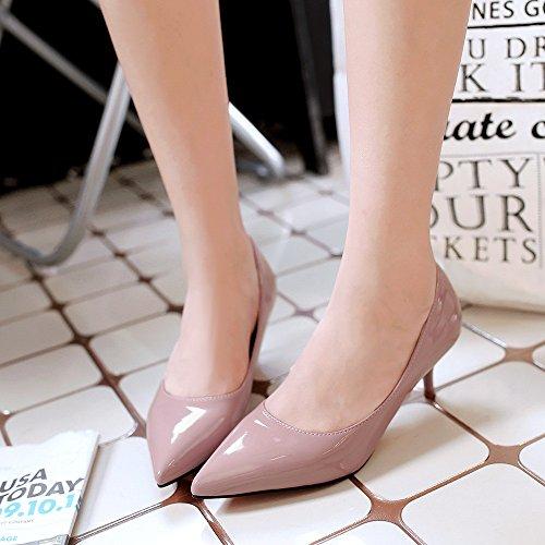 Rosso scarpe matrimonio punta bassa e donne singoli belle scarpe con 5 cm di carriera della donna scarpe singole Raw Color