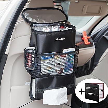 Almatess Organizador para asiento de coche, bolsa de viaje multibolsillos, nevera aislada para bebidas, bolsillos de malla