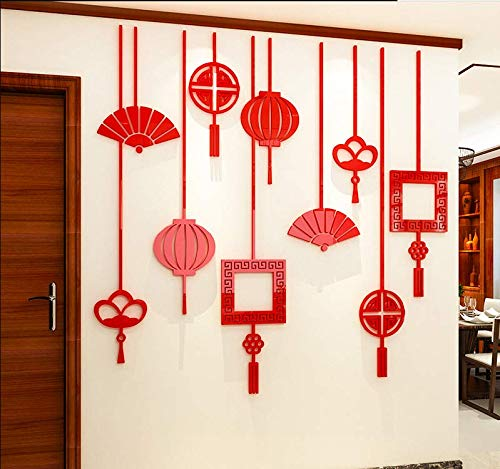 130 * 127 Cm Kreative Fan Laterne Chinese New Year Chinesischen Stil Chinesischen Knoten Acryl 3D Wandaufkleber Wohnzimmer Schlafzimmer Dekor Rot