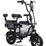 FJW Unisex Bicicletta elettrica 48V 400W Bicicletta Ibrida a Doppia Sospensione Ebike da 12 Pollici con Freni a Disco e Forcella di Sospensione (Batteria al Litio Rimovibile),Black,15A