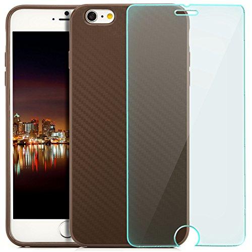 Coque Hülle iPhone 6 Plus / iPhone 6S Plus Case Silicone Cover Carbon Design Housse en TPU Mince Protecteur Bumper et pare-chocs Protection pour Apple iPhone 6 Plus / 6S Plus 5.5 pouces - Lilas Marron