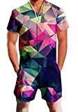 Chicolife Mens colorful Rainbow Geometry Cube Print Zip Up Jumpsuit Short Cargo Pants Rompers Slim Fit Party Overalls Boyfriend Shorts Geometry Cube Small