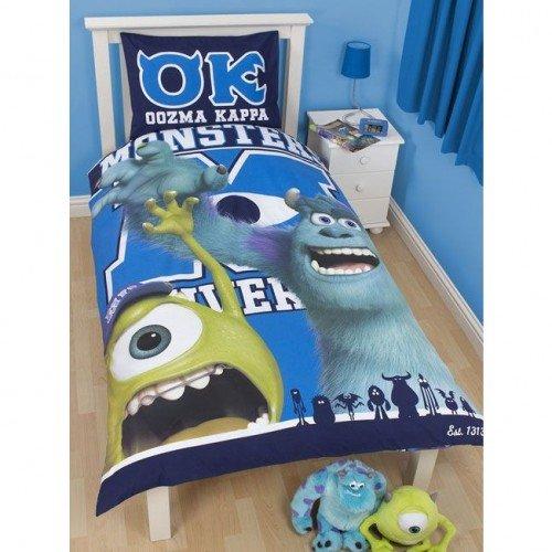 Disney Monsters University Boys Reversible Single Duvet Cover Bedding Set (Single Bed) (Blue)