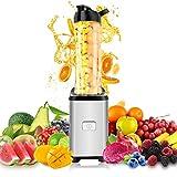 SmoothiemakerMixer, ONEDAY 350W Mini Blender Standmixer | 23.000 U/min 4-flügliges Edelstahlmesser | 600 ml Tritan Trinkflaschen | Einfache 1-Tastenbedienung |Gebürstetem Edelstahlgehäuse