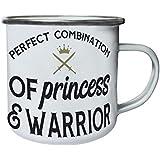 Combinación Perfecta De Princesa Y Guerrero Retro, lata, taza del esmalte 10oz/280ml n661e