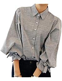 26761d58fb5f Snone Femme Chemise À Manches Longues Tops Blouses Élégantes Style Chic  Lâche Version Coréenne Femmes Tops