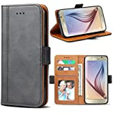 Bozon Galaxy S6 Case, Leather Flip Wallet Case Cover for Samsung Galaxy S6 with Stand and Card Slots / Magnetic Closure
