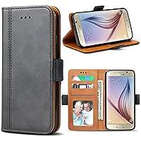Bozon Galaxy S6 Hülle, Leder Tasche Handyhülle Flip Wallet Schutzhülle für Samsung Galaxy S6 mit Ständer und Kartenfächer/Magnetverschluss (Dunkel-Grau)