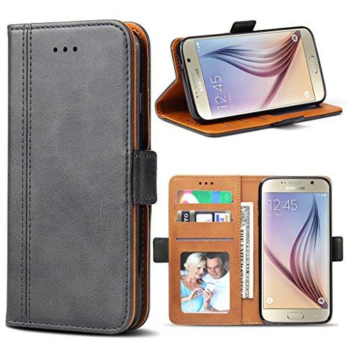 Bozon Galaxy S6 Hülle, Leder Tasche Handyhülle Flip Wallet Schutzhülle für Samsung Galaxy S6 mit Ständer & Kartenfächer/Magnetverschluss (Dunkel-Grau)