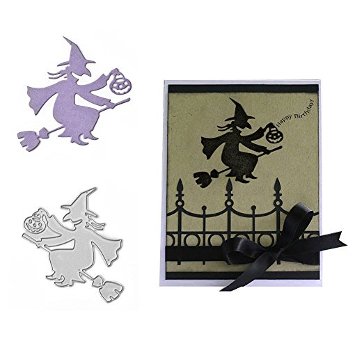Jiacheng29 Halloween Hexe Kürbis Laterne Metall Stanzform DIY Scrapbooking Embossing Craft