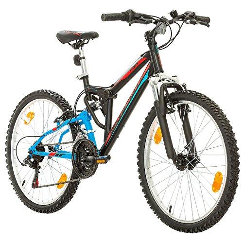 Fahrrad MTB Mountainbike Fully Full Suspension 24 Zoll Bikesport PARALLAX Shimano 18 Gang ... (Schwarz Blau)