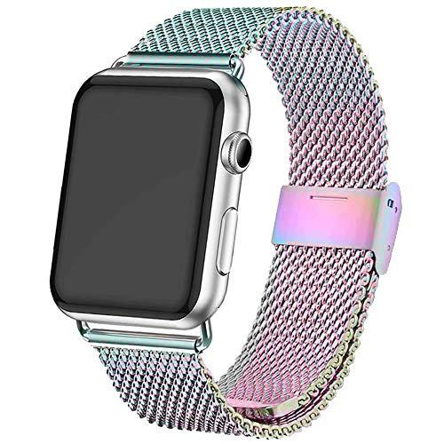 INZAKI Kompatibel für Apple Watch Armband mit Hülle 38mm/40mm,Edelstahl Netz Schlaufen Armband für iWatch Series 4/3/2/1,Sport,Edition,Regenbogen
