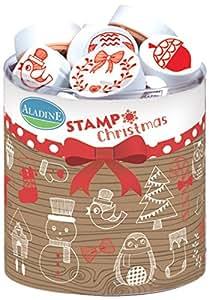 Aladine 03202 - Stampo Natale, 32 timbri, 1 tampone di inchiostro, nero