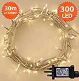 Fairy Lights 300 LED 30m Warm White Indoor/Outdoor Christmas Lights String Tree Lights Festival/Bedroom/Party Decorations Memory Mains Powered 98ft Lit Length 5m/16ft Lead Wire Clear Cable