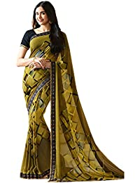KAMELA SAREE women's silk material Green colour Printed Party wear saree With Blouse