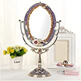 LQQFF Espejo de Maquillaje Vintage, Espejo Princesa, Espejo Europeo de Doble Cara de Alta Definición (Color : D)