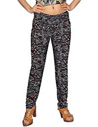 Comix Women Lycra Fabric Comfort Fit Ankle Length Printed Stylish Leggings (Black,Red,XL)