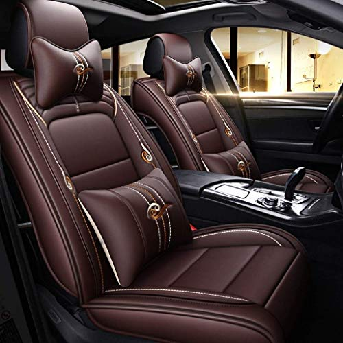 Fyj-carcare Autositzbezüge, vorne und hinten Autoinnenausstattung Universal Styling mit Kopfstützenbezug Schwarz Styling Creme Autositzbezug (Farbe : Coffee Color)