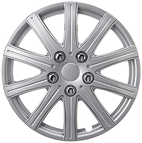 XtremeAuto® 14'' Rally Sport Silver Car Wheel Trim Hub Cap Covers Multi-Spoke - Includes Chrome Valve Caps and Silver Cable Ties