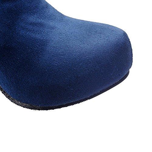 Talon Haut Bleu Bottes à Femme Tire Couleur Rond Unie AgooLar Suédé pfOqwX
