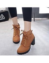 c6461339cd72b0 Shukun Stiefeletten Frauen Schuhe Dicke High Heel Spitze Metall  Reißverschluss Low Tube Herbst Und Winter…