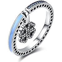 OMZBM S925 Sterling Silber Vintage Blume Typ Zirkon Ring Kann Handgefertigte Halskette Dual Use Schmuck Für Frauen Und Mädchen Sein