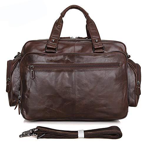 Herren Aktentasche aus echtem Leder mit großer Kapazität - Classic Simple Executive Shoulder Messenger Bag Handtasche - Unisex-Schulranzen für Laptop und Notebook, Brown -