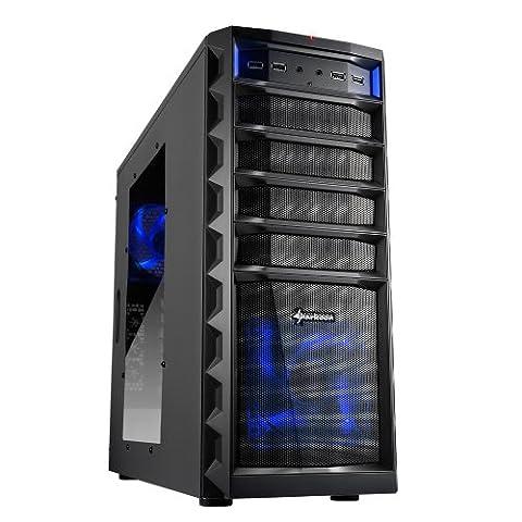 Sharkoon Technologies REX3 Value Midi-Tower PC-Gehäuse (ATX, 3x 5,25 externe, 1x 3,25 externe, 4x 3,5 interne, 2x USB 3.0, 4x USB 2.0) schwarz