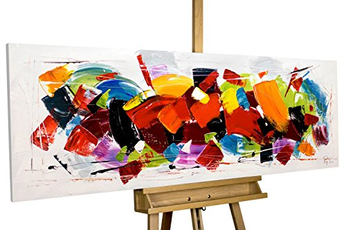 mälde 'Rush' 150x50cm | original handgemalte Leinwand Bilder XXL | Abstrakt Bunt Rot Deko | Wandbild Acrylbild moderne Kunst einteilig mit Rahmen ()