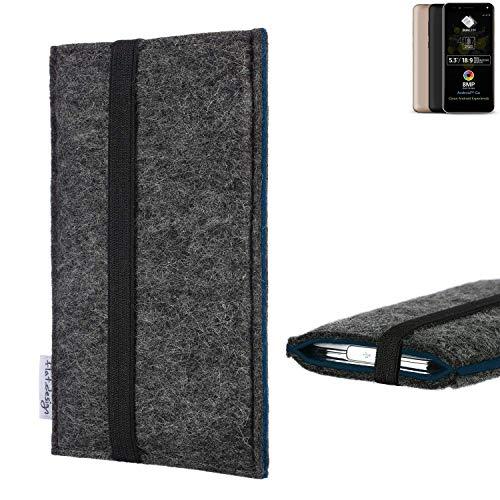 flat.design Handyhülle Lagoa für Allview A9 Plus | Farbe: anthrazit/blau | Smartphone-Tasche aus Filz | Handy Schutzhülle| Handytasche Made in Germany