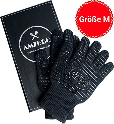 AMZBBQ Grillhandschuhe, Ofenhandschuhe, hitzebeständig bis zu 500 Grad, Größe M