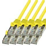 BIGtec - 10 Stück - 1,5m Netzwerkkabel Patchkabel Ethernet LAN DSL Patch Kabel Gigabit gelb ( 2x RJ-45 Anschluß , CAT5e , geschirmt FTP ) 1,5 Meter