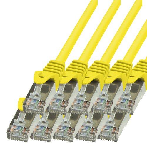 BIGtec - 10 Stück - 1,5m Netzwerkkabel Patchkabel Ethernet LAN DSL Patch Kabel Gigabit gelb ( 2x RJ-45 Anschluß , CAT5e , geschirmt FTP ) 1,5 Meter - 5e Rj-45 Patch-kabel