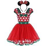 Bebé Niña Vestidos de Princesa Tutú Disfraces Infantil con Diadema Traje de Fiesta Carnaval Bautizo Tutú Ballet Lunares Fantasía Rojo+Verde 3-4 Años