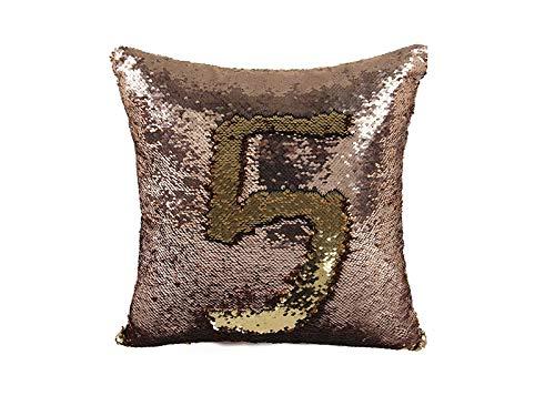 Jushi Kopfkissenbezug Pailletten Kissenbezug Reversible Mermaid Dekokissen Gehaeuse Farbe ändern Pailletten Standard-Baumwolle für Couch Dekoration -