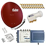 HB-Digital SET: FUBA 8 Teilnehmer Digital SAT Anlage 85cm DAA850R + hochwertiger LNB 0,1dB FULL HDTV 4K + 5/8 Multischalter + 24 Vergoldete F-Stecker Gratis dazu
