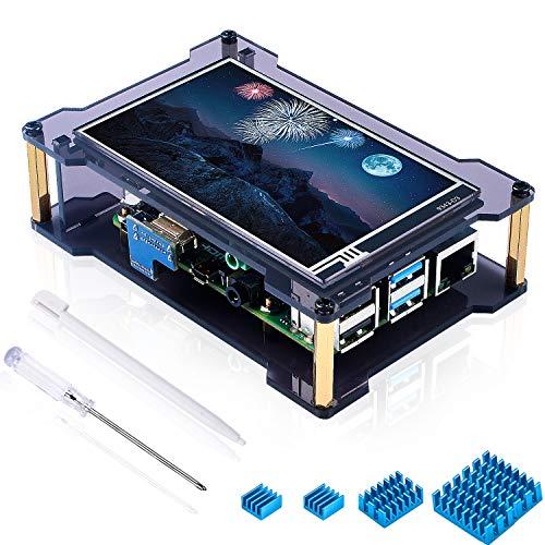 Miuzei - Schermo touchscreen Raspberry Pi 4 da 4 pollici con schermo IPS (grandangolo, 800 x 480 pixel), ingresso HDMI, pennino touch, 4 dissipatori di calore, supporta Raspbian, Ubuntu, Kali, Retrope