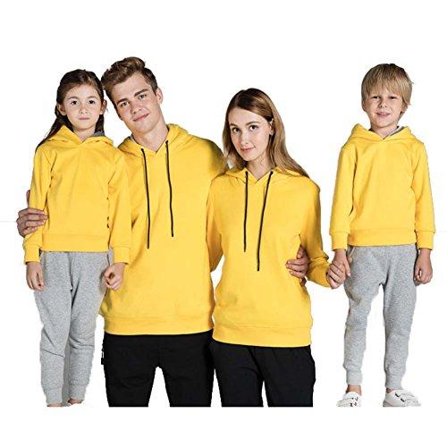 hibote Famille Hoodies assortis Couleur unie Chemises longues Femmes Hommes Enfants Tops Sweaterhirt Jaune