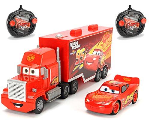 "Dickie Toys 203088002 - \""Cars 3 Turbo Racer Mack Truck + Lightning McQueen\"", RC Fahrzeug Set, ferngesteuerter LKW, ferngesteuertes Auto, 1:24, 46cm\"""